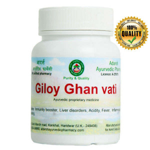 Giloy Ghan vati Adarsh Ayurvedic Pharmacy, 40 grams ~ 100 tablets